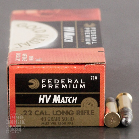 500rds - 22LR Federal Gold Medal High Velocity Match  40gr. Solid Point Ammo