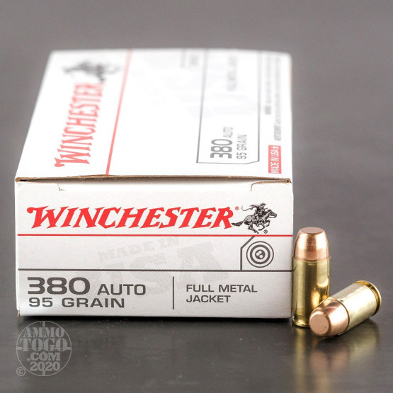 50rds - .380 Auto Winchester USA 95gr. FMJ Ammo