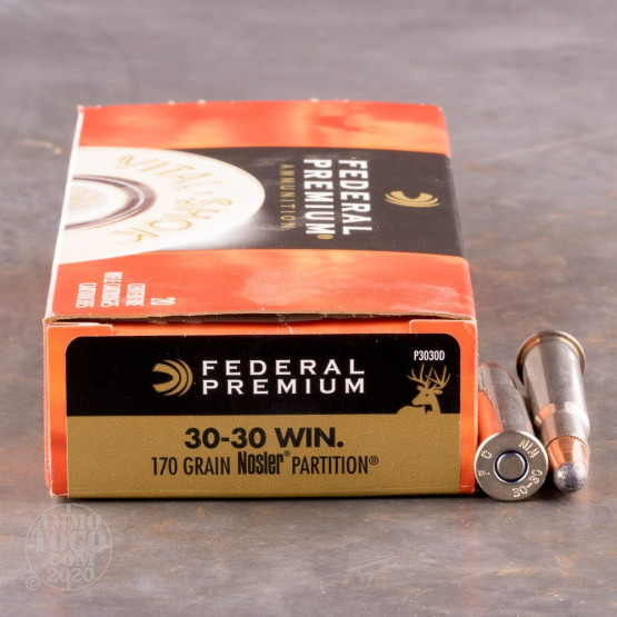 20rds – 30-30 Federal 170gr. Nosler Partition Ammo