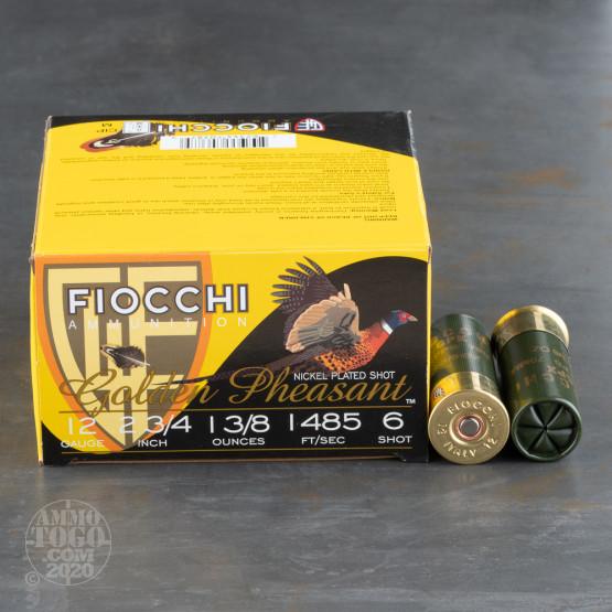 "25rds - 12 Gauge Fiocchi 2 3/4"" 1 3/8oz. #6 Shot Golden Pheasant Nickel Plated GPX"