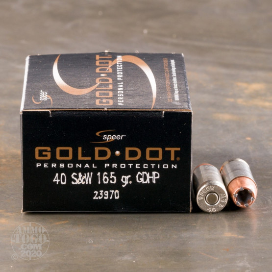 20rds – 40 S&W Speer Gold Dot 165gr. JHP Ammo