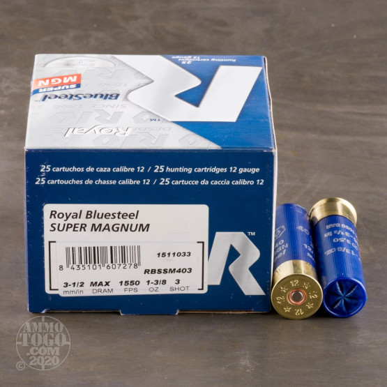 "250rds - 12 Ga. Rio Royal BlueSteel 3 1/2"" 1 3/8oz #3 Steel Shot Ammo"