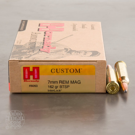 20rds - 7mm Rem Mag Hornady Custom 162gr. Boat-Tail Spire Point Ammo