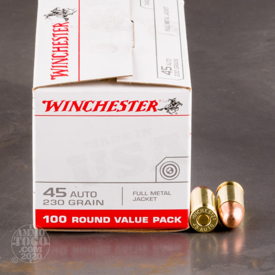 100rds - 45 ACP Winchester USA Value Pack 230gr. FMJ Ammo
