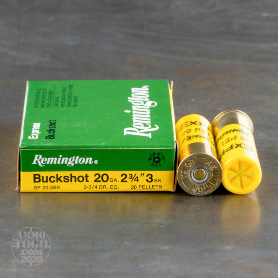 "5rds – 20 Gauge Remington Express 2-3/4"" 20 Pellet #3 Buckshot Ammo"