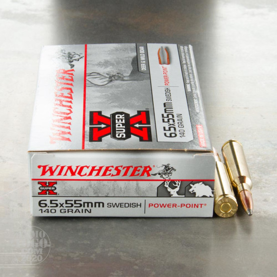 20rds - 6.5x55 Swedish Mauser Winchester Super X 140gr. SP Ammo