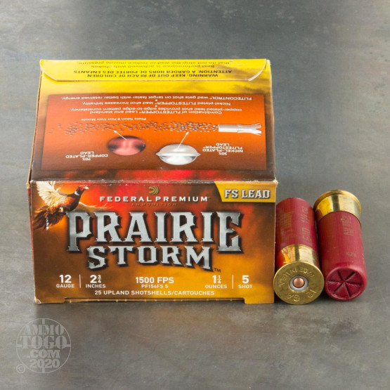 "25rds – 12 Gauge Federal Prairie Storm FS Lead 2-3/4"" 1-1/4oz. #5 Shot Ammo"