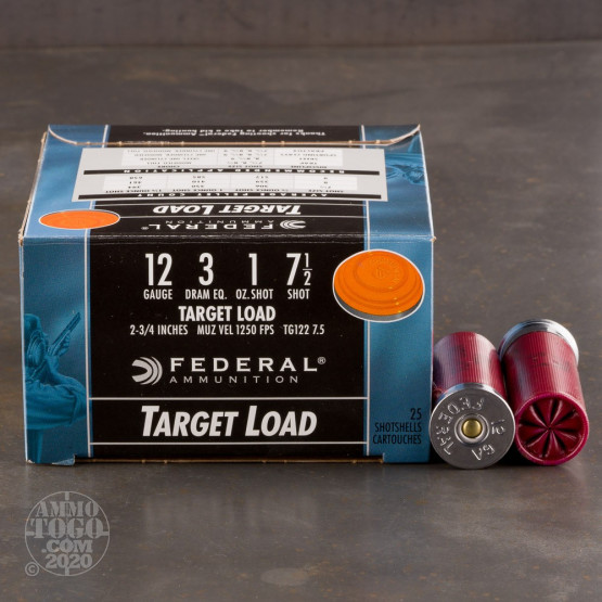 "25rds – 12 Gauge Federal Top Gun 2-3/4"" 1oz. #7.5 Shot  Ammo"