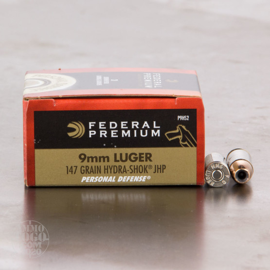 20rds - 9mm Federal Hydra-Shok 147gr. HP Ammo