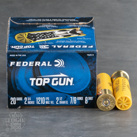 "250rds - 20 Gauge Federal Top Gun Target Load 2 3/4"" 7/8oz. #8 Shot Ammo"