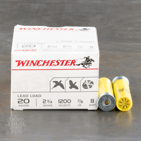 "100rds – 20 Gauge Winchester USA Game & Target 2-3/4"" 7/8 oz. #8 Shot Ammo"