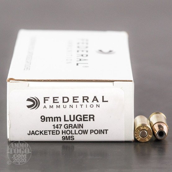 50rds - 9mm Federal LE Hi-Shok 147gr. Hollow Point Ammo