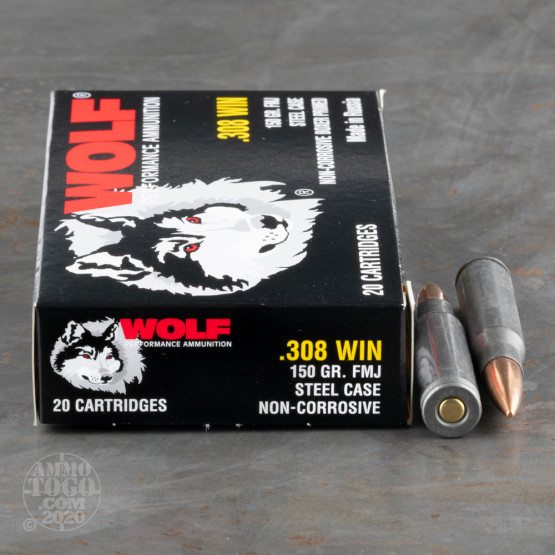 20rds – 308 Win Wolf 150gr. FMJ Ammo