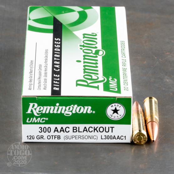 200rds - 300 AAC Blackout Remington UMC 120gr. OTFB Ammo