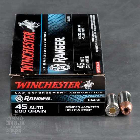 50rds - 45 ACP Winchester Ranger Bonded 230gr. HP Ammo