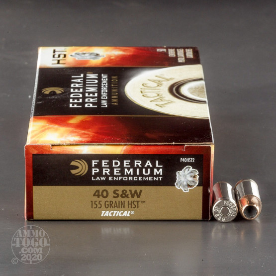 50rds - 40 S&W Federal LE Tactical HST 155gr. HP Ammo