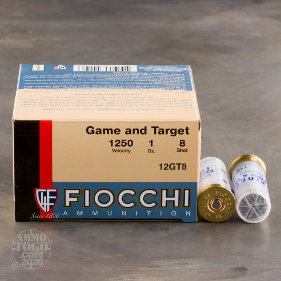 """25rds – 12 Gauge Fiocchi Game and Target 2-3/4"""" 1oz. #8 Shot Ammo"""