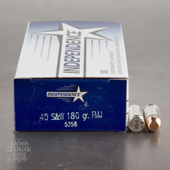 50rds - 40 S&W Independence 180gr. FMJ Ammo