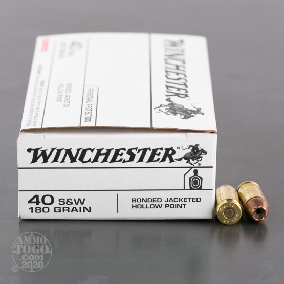 50rds - 40 S&W Winchester 180gr. Bonded Jacketed Hollow Point Ammo