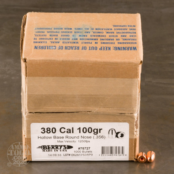 """1000pcs - 380 .356"""" Dia Berry's 100gr. Plated HB-RN Bullets"""