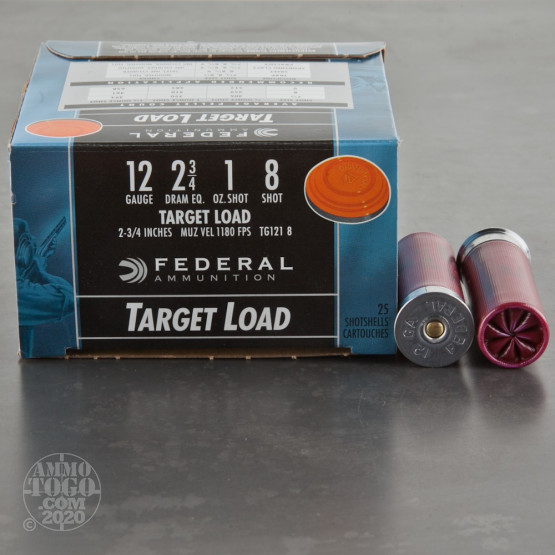 "25rds – 12 Gauge Federal Top Gun 2-3/4"" 1oz. #8 Shot Ammo"