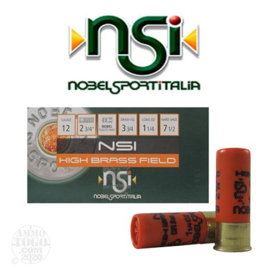 "250rds - 12 Gauge NSI High Brass Field 2 3/4"" 3 3/4 Dram 1 1/4oz. #7 1/2 Shot Ammo"