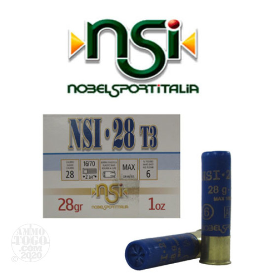 "250rds - 28 Gauge NobelSport Hunting 2 3/4"" Max Dram 1oz. #6 Shot Ammo"