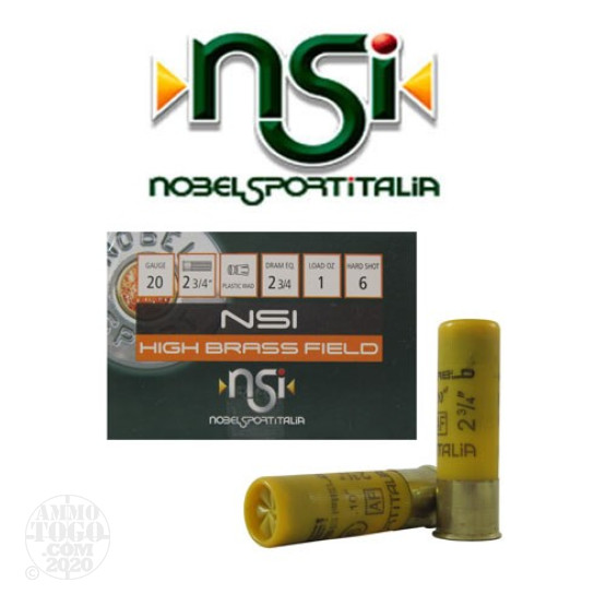 "250rds - 20 Gauge NSI High Brass Field 2 3/4"" 2 3/4 Dram 1oz. #6 Shot Ammo"