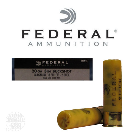 "5rds - 20 Gauge Federal Power-Shok 3"" 18 Pellet #2 Buckshot Ammo"