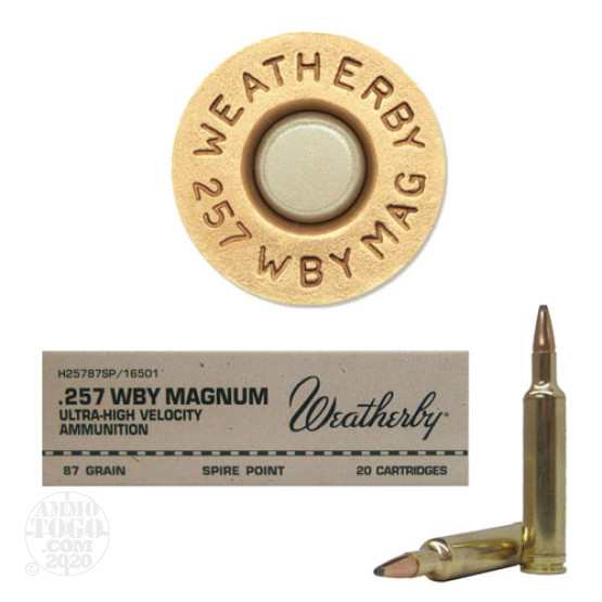 20rds - 257 Weatherby Mag. 87gr. Spire Point Ammo