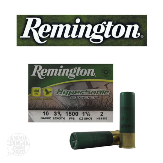 "25rds – 10 Gauge Remington HyperSonic Steel 3-1/2"" 1-1/2oz. #2 Shot Ammo"