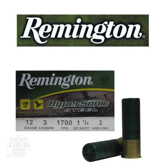 "250rds - 12 Ga. Remington HyperSonic 3"" 1 1/4oz #3 Non-Toxic Steel Shot Ammo"