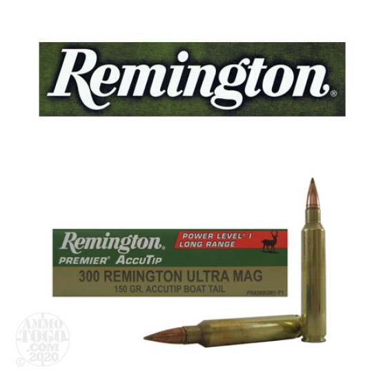 20rds – 300 RUM Remington Premier 150gr. AccuTip BT Ammo