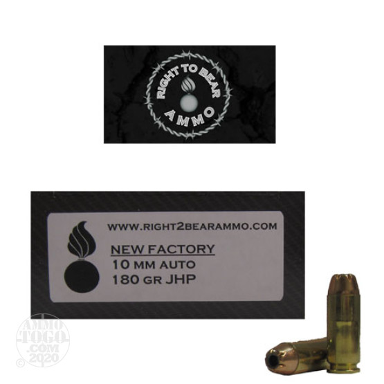 50rds - 10mm Right To Bear 180gr. JHP Ammo
