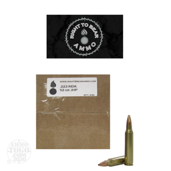 200rds - 223 Right To Bear 52gr. JHP Remanufactured Ammo