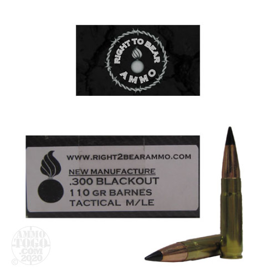 200rds - 300 AAC BLACKOUT Right To Bear 110gr. Tactical M/LE Ammo