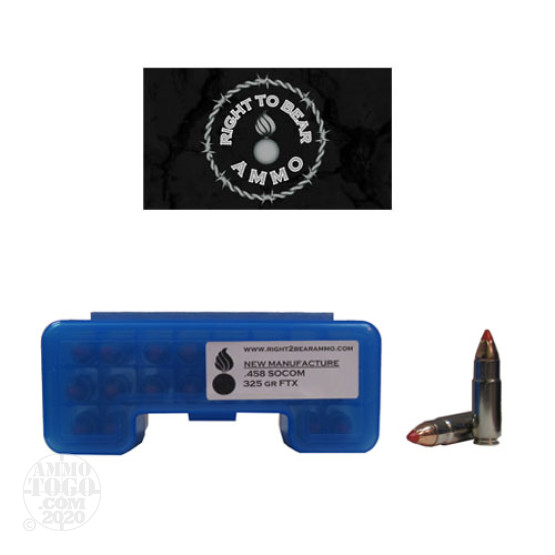 20rds - 458 SOCOM Right To Bear 325gr. FTX Ammo