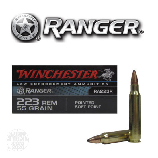 20rds - 223 LE Winchester Ranger 55gr. Pointed Soft Point Ammo
