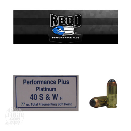 20rds - 40 S&W RBCD Performance Plus 77gr Total Fragmenting Soft Point Ammo