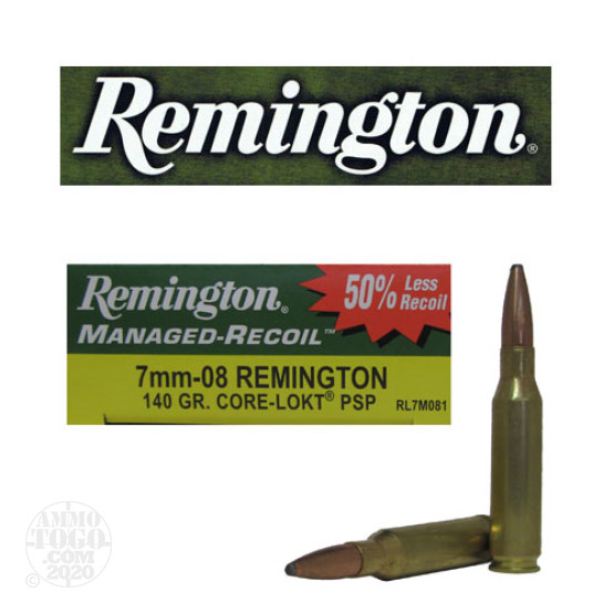 20rds - 7mm-08 Remington 140gr. Managed Recoil Core-Lokt Pointed Soft Point Ammo
