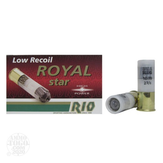5rds - 12 Gauge Rio Royal Star Low Recoil Slug Ammo