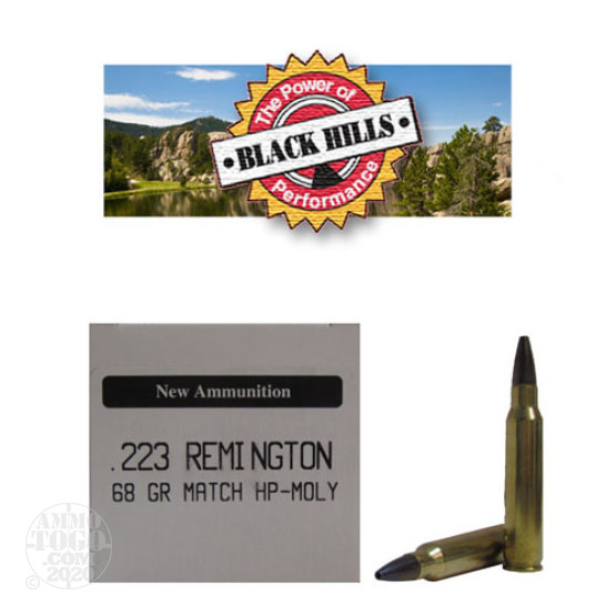 50rds - 223 Black Hills 68gr. New Seconds Heavy Match HP Moly Ammo