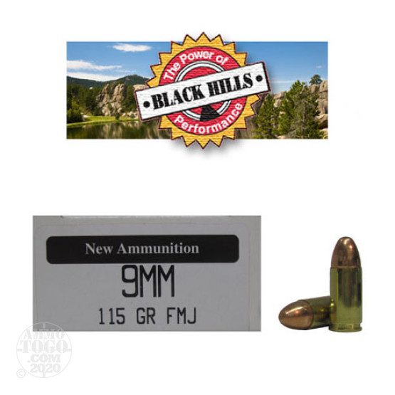 50rds - 9mm Black Hills 115gr. New Seconds FMJ Ammo