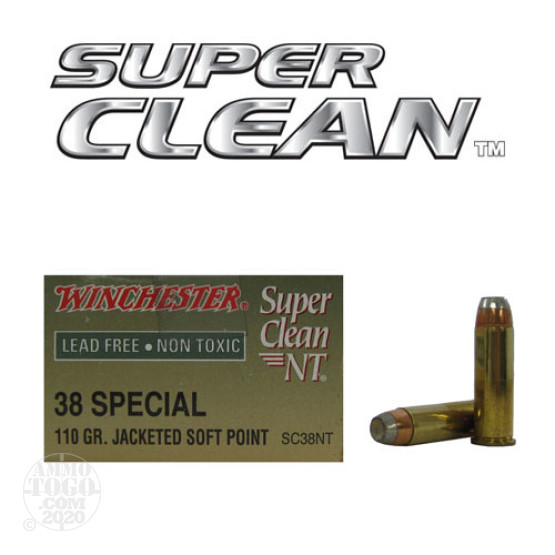 50rds - 38 Special Winchester Super Clean NT 110gr. Flat Point