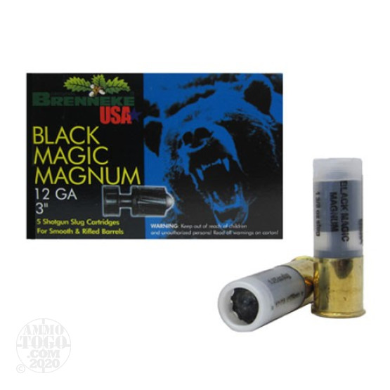 "5rds - 12 Gauge Brenneke Black Magic Magnum 3"" 1 3/8oz. Slug Ammo"