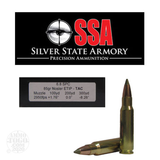 20rds - 6.8 SPC Silver State Armory 85gr. Nosler ETIP Tactical Ballistic Tip Ammo
