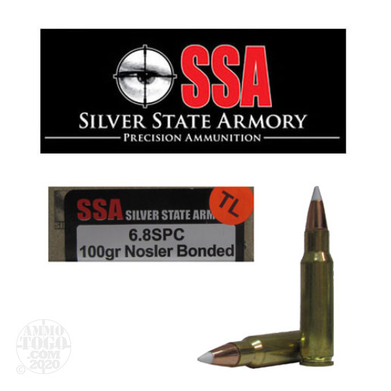 20rds - 6.8 SPC Silver State Armory 100gr. Nosler Accubond TACTICAL Load Ballistic Tip
