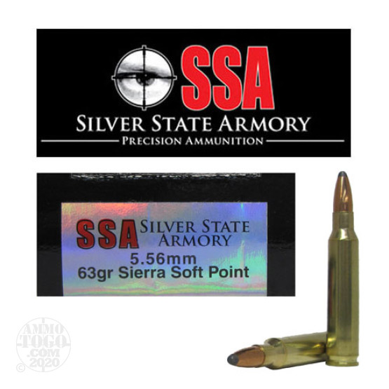 20rds - 5.56 Silver State Armory 63gr. Sierra Soft Point Ammo