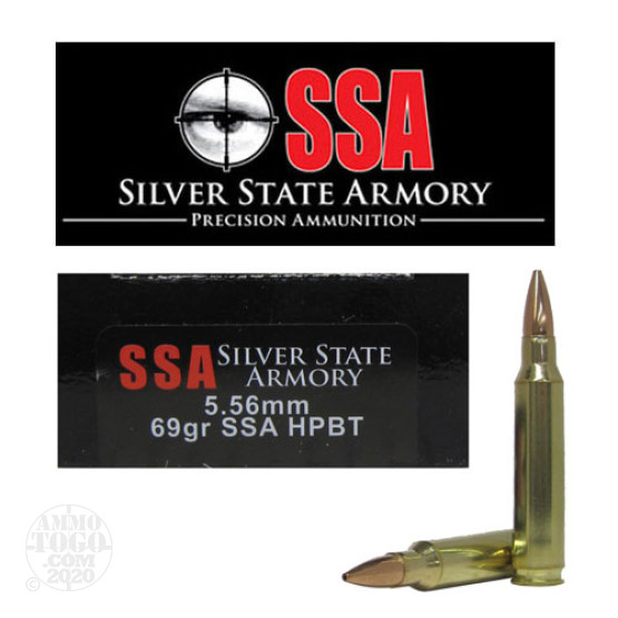 20rds - 5.56 Silver State Armory 69gr. HPBT Ammo