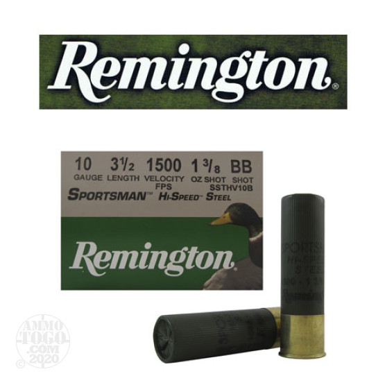 "250rds - 10 Gauge Remington Sportsman Hi-Speed Steel 3 1/2"" 1 3/8oz. #BB Shot Ammo"
